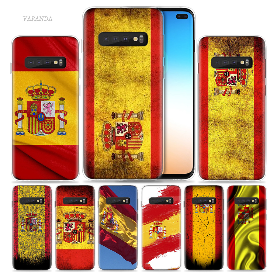 >Spain <font><b>Spanish</b></font> Flag Case for Samsung Galaxy S20 S10 5G S10e S9 S8 Plus S7 Note 10 8 9 J4 J6 2018 TPU Phone Coque Covers