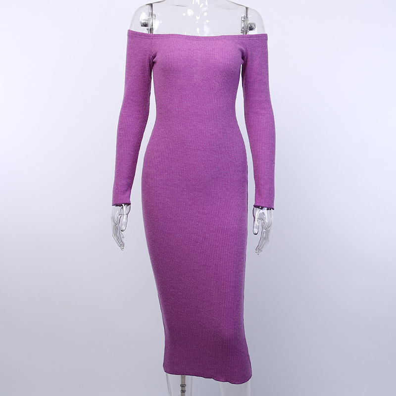 Off Shoulder Ribbed Knitted Long Sleeve Bodycon Midi Dress 14