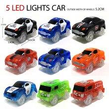Carro elétrico da trilha mágica lâmpada do diodo emissor de luz peças do brinquedo trilha de corrida do trilho do carro, brinquedos educativos das crianças para carros do brinquedo dos meninos presentes de aniversário