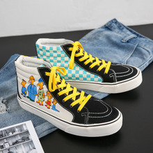 Canvas Skateboard Shoes Men Fashion Cartoon Printing Canvas Sneakers Women Spring and Autumn Couple High top Vulcanized Shoes