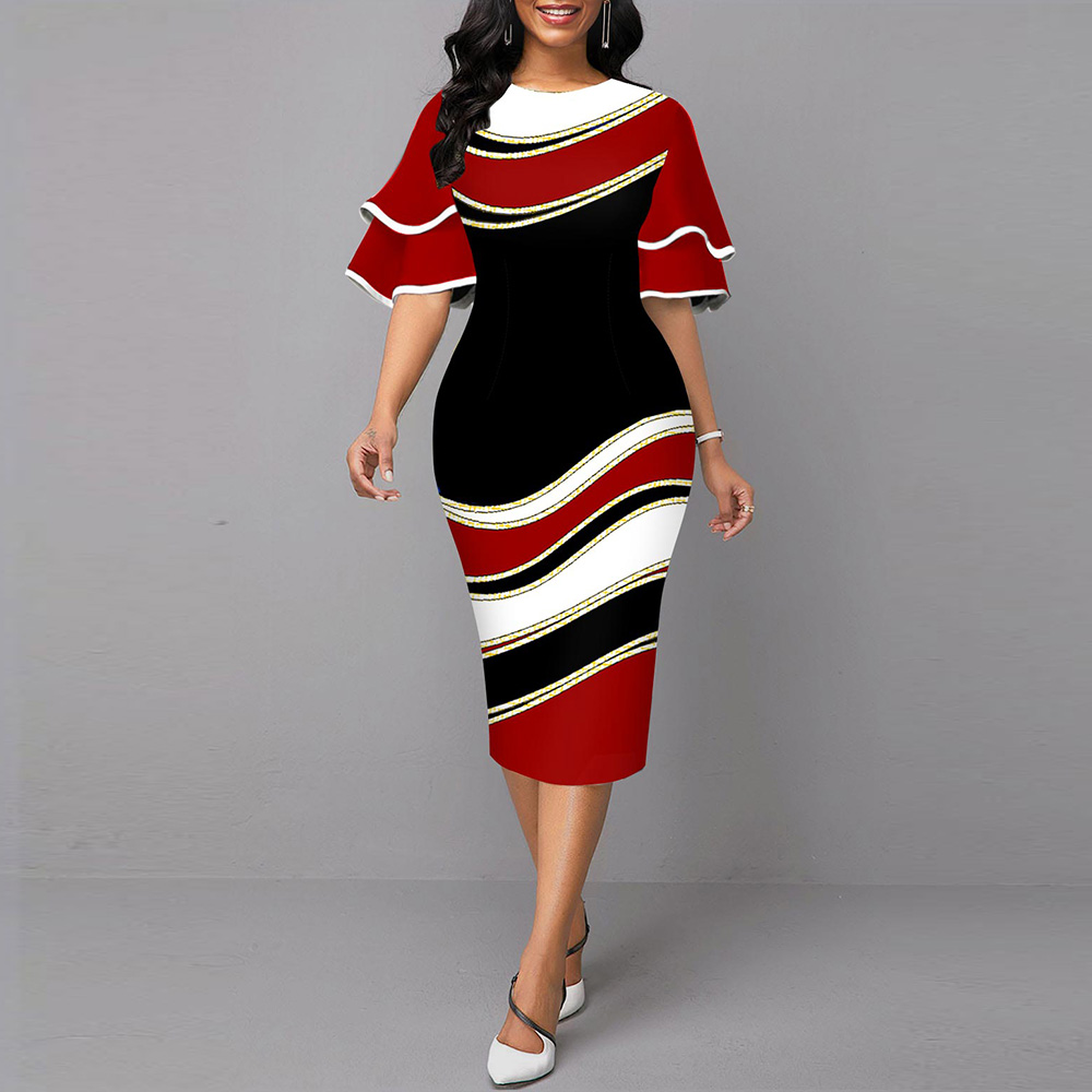 Women Dress Elegant Geometric Print Wedding Party Dress 2021 Fashion Ruffle