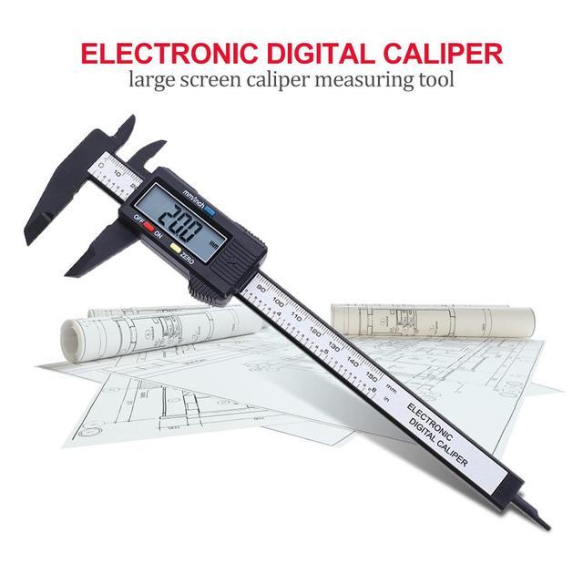 150mm 6inch LCD Digital Ruler Electronic Carbon Fiber Vernier Calipers Gauge Micrometer Measuring Tool Instrument