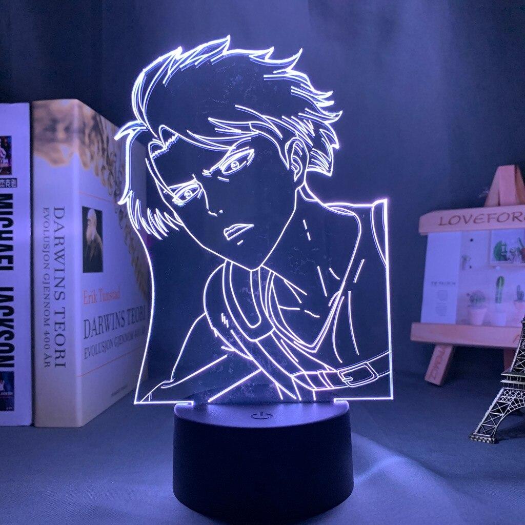 Hffc2ab04045842c495c5199f77880fa5Z Luminária Attack on Titan Shingeki no Kyojin Ataque em titan levi ackerman acrílico 3d lâmpada para casa decoração do quarto luz presente da criança levi ackerman led night light anime
