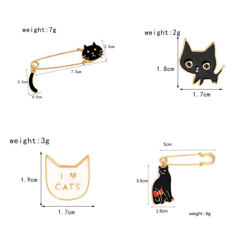 Hitam Putih Pasangan Kucing Pin Aku Suka Kucing Lucu Bros Lencana Tas Aksesoris Enamel Pin Perhiasan Festival Hadiah untuk Kekasih teman