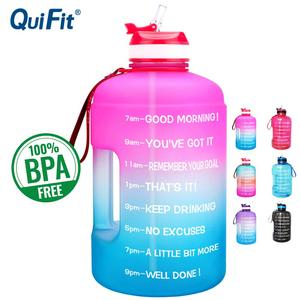 QuiFit 3.78L 2.2L 1.3L 128oz 1 Gallon Water Bottle with Straw Clear Plastic Drinking Bottles Big GYM Jug Cup BPA Free GYM Sports