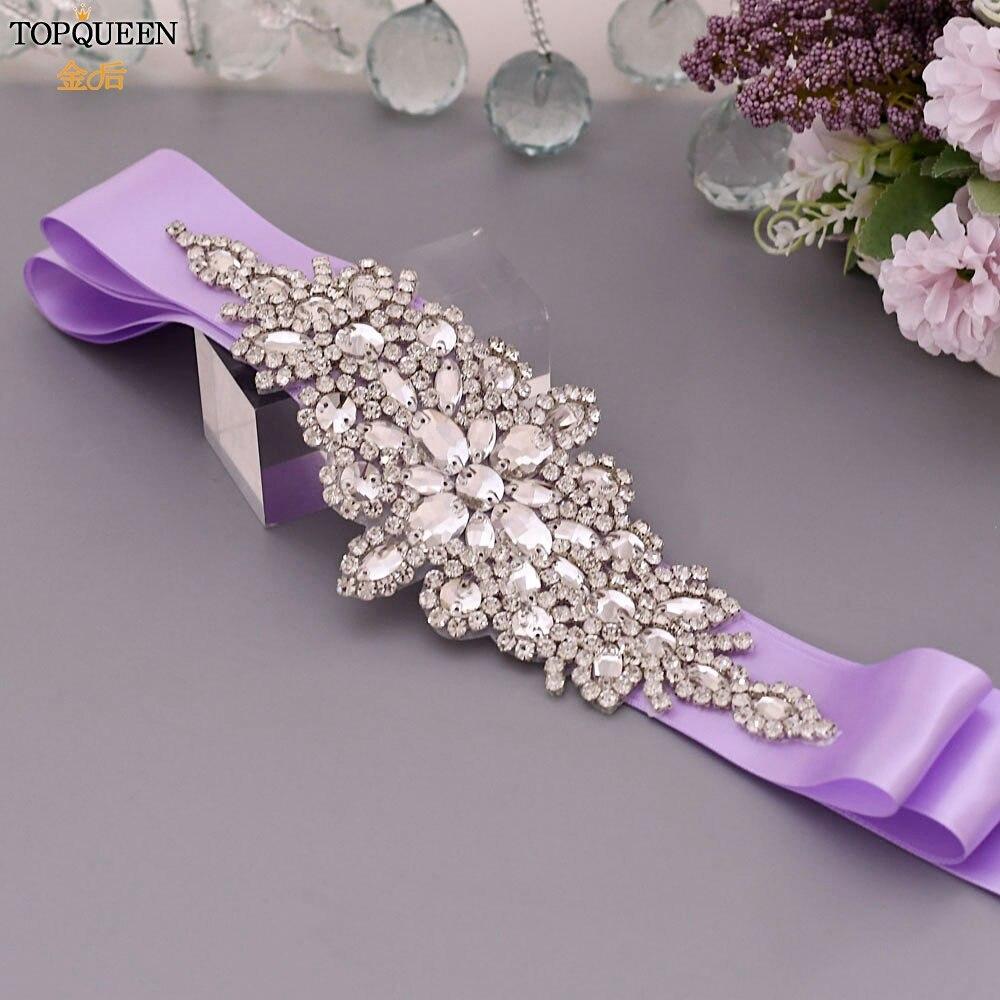 TOPQUEEN Wide Rhinestone Bridal Belt Women's Wedding Dresses Belt Bridal Sash Belt Belted Dress Belt Lavender Dress Sash S01