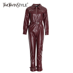 TWOTWINSTYLE Casual PU Leather Jumpsuits For Women Lapel Collar Long Sleeve High Waist Straight Jumpsuit Female Fashion 2020 New