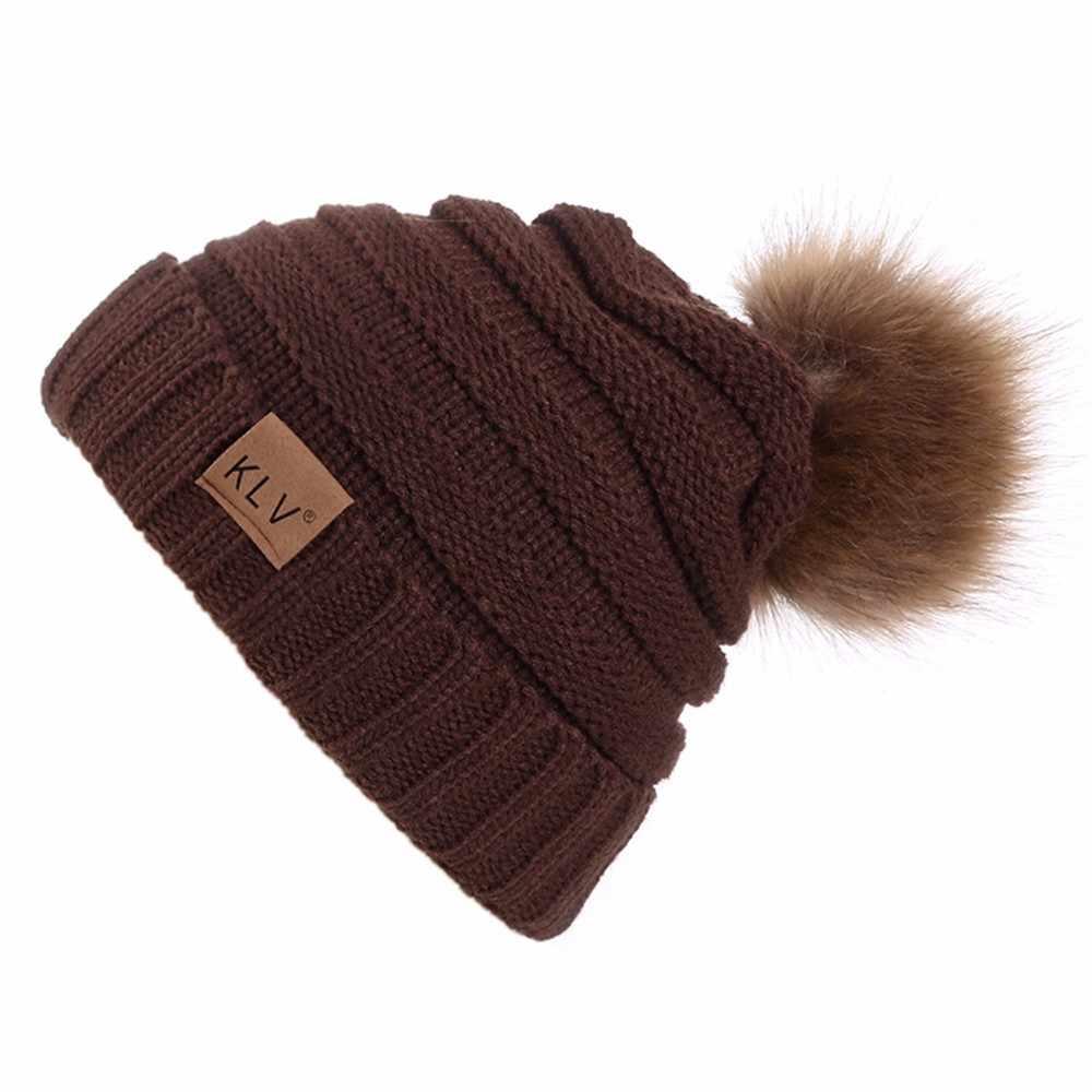 Winter Vrouwen Gebreide Hoeden Mode Warm Pom Pom Wol Hoed 2018 Dames Skullies Beanie Solid Vrouwelijke Outdoor Caps # L5