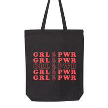 Girl Power Feminist Shopping Bag GRL PWR Classic Letter Print Slogan Canvas Tote Bags For Women
