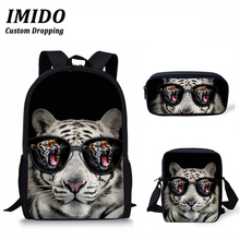 IMIDO Cool Children School Bag 3D Animal Tiger Printing Large Capacity Backpack for Boys Girls Rucksack Kids Book Bags Mochila forudesigns fashion men backpacks cool 3d animal tiger printing school backpack for teenage boys children mochila rucksack man