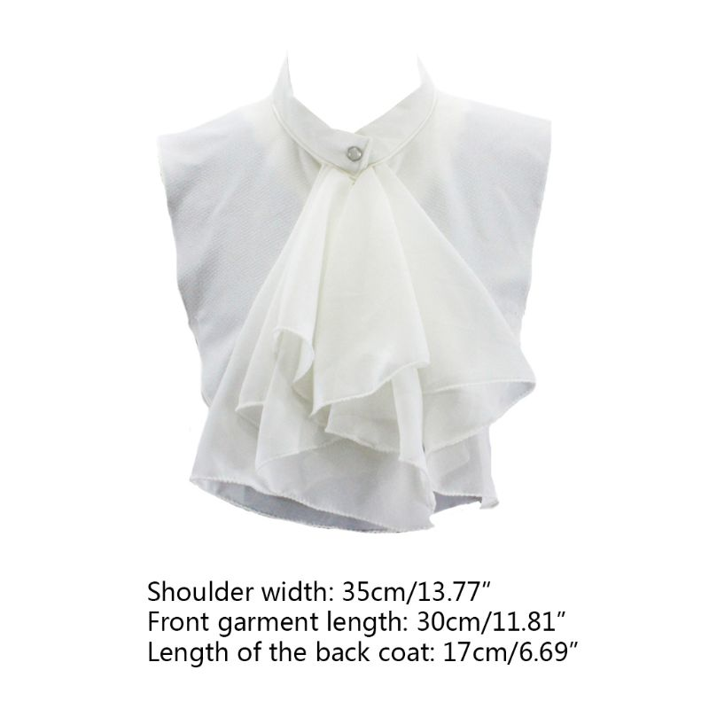 Women Vintage Palace Ruffles Bowknot Half Shirt Blouse Chiffon False Fake Collar