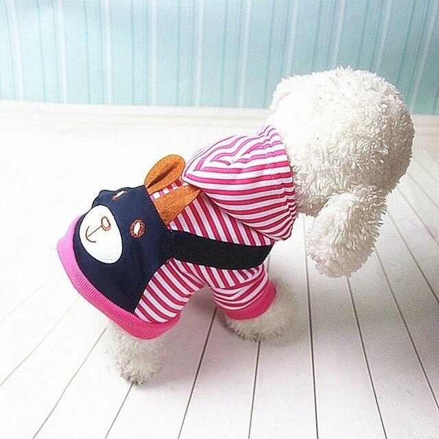 Ropa de Perro a rayas a la moda de PUOUPUOU para perros, Abrigo con capucha, sudadera de invierno, Ropa para perros, Ropa para mascotas de dibujos animados 3
