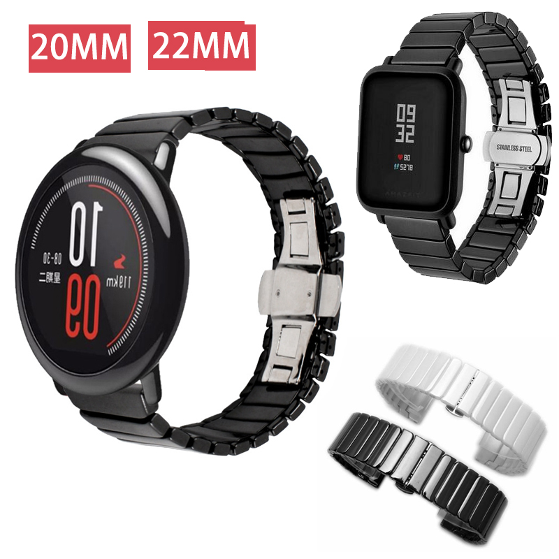 Ceramic Watch Strap For Amazfit Bip Pace watch band 20mm 22mm Watch Band For Galaxy gear s3 active watch Bracelet