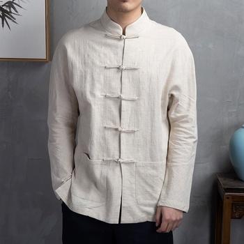 Tradycyjna chińska odzież dla mężczyzn bawełniana lniana bluzka z długim rękawem Vintage ubrania Kung Fu klasyczne męskie bluzki typu Oversize KK3321 tanie i dobre opinie EASTQUEEN COTTON Linen CN (pochodzenie) Topy Suknem