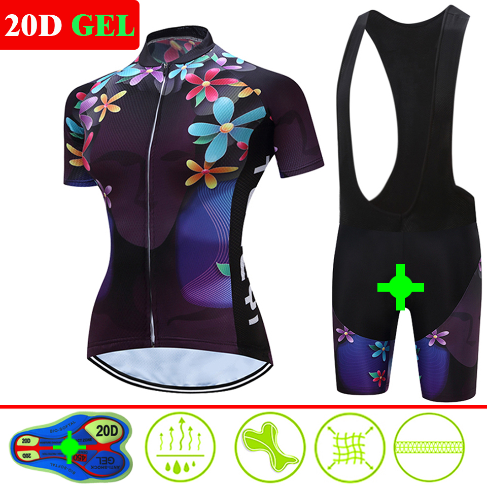 Women Cycling Clothing Bicycle Jersey Set Female MTB Ropa Ciclismo Girl Cycle Casual Wear Road Bike Bib Short Pant Pad 2 Colors