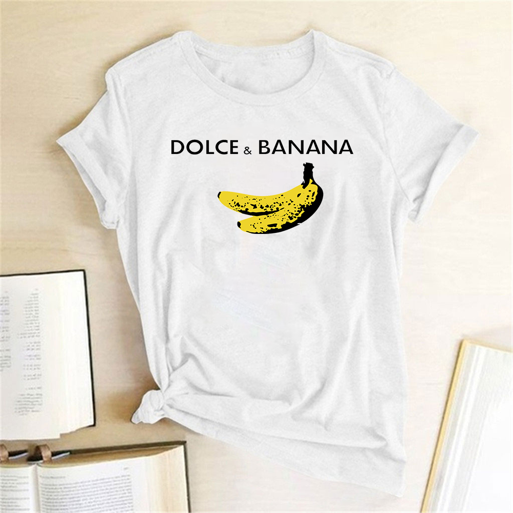 Funny T <font><b>Shirt</b></font> Dolce&banana Printed <font><b>Women</b></font> Short Sleeve Harajuku Ulzzang Tumblr T <font><b>Shirt</b></font> Fashion Fruit Style Cute Tops Graphic Tee image