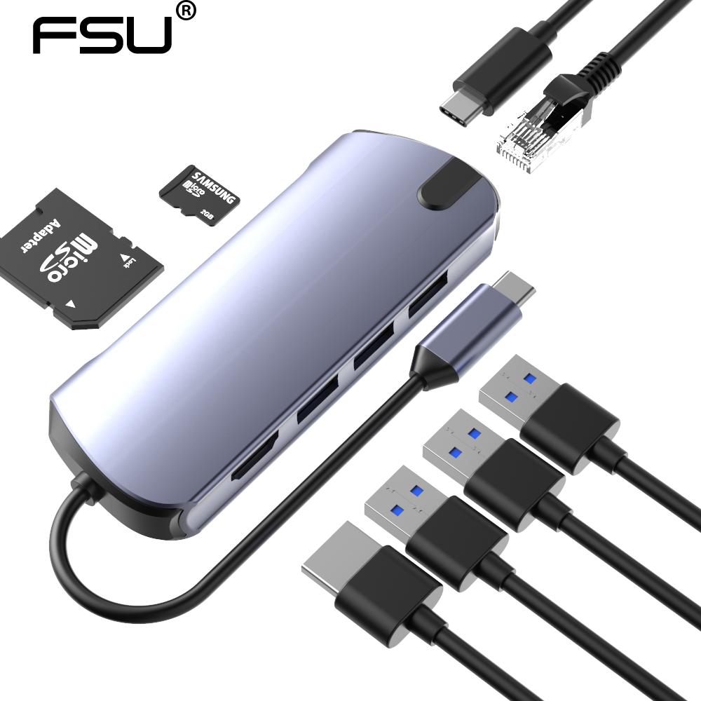 FSU USB C HUB to HDMI RJ45 PD VGA Card Reader All in One USB 3.0 adapter USB HUB For Macbook Pro Accessories Multi Type C HUB