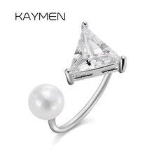 Zircônia cúbica triangular anéis de manguito ajustável para meninas femininas, declaração anéis de faixa de pérola casamento noivado festa jóias 297