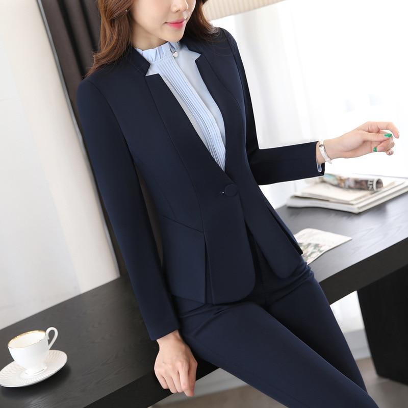 IZICFLY Autumn Spring Women Suits With Trouser Office Uniform Style Business Ladies Pants Suits Work Wear Blazer Set Plus Size