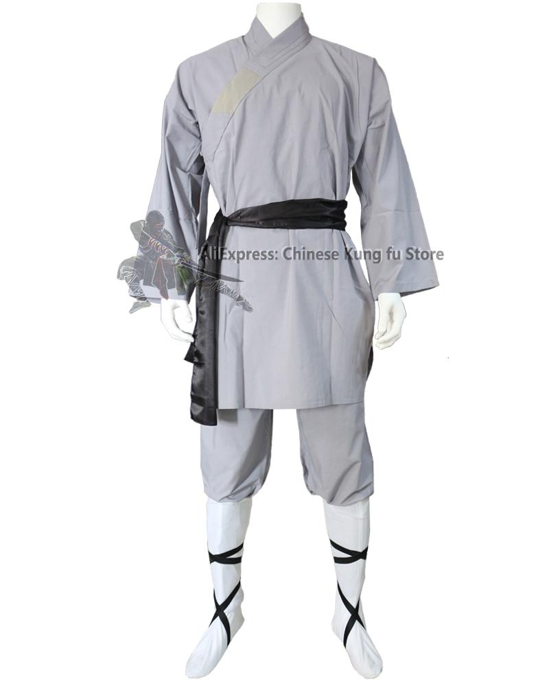 Kids Adults Popular Gray Cotton Shaolin Uniform Buddhist Robe Martial Arts Tai Chi Kung Fu Suit