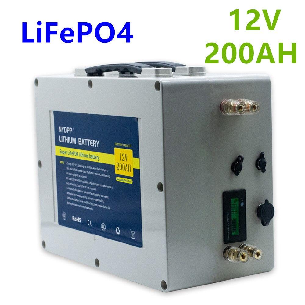 Lifepo4 12v 200ah Аккумулятор lifepo4 12V литиевый аккумулятор Встроенный BMS для электродвигателя лодки, гольф-кары, солнечной системы
