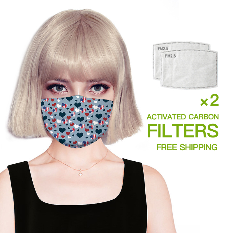 Mouth Face Mask Digital Printing Fashion Mouth Mask Washable Mask Contains Replaceable Filter Chip Anti Dust Mouth Face Mask