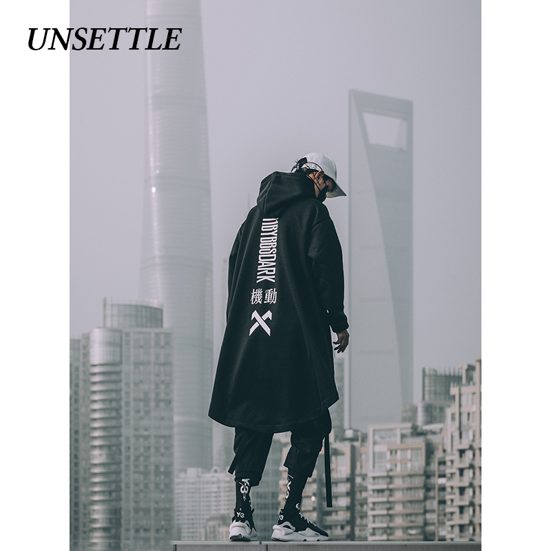 UNSETTLE japanese sweatshirt Mens Oversize Hoodies Long Cloak Hip Hop Gothic Outwear Streetwear Coat Harajuku Style Male Tops 1