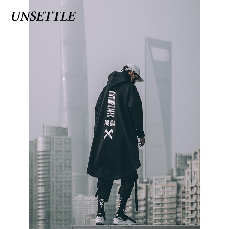 UNSETTLE Japanese Sweatshirt Mens Oversize Hoodies Long Cloak Hip Hop Gothic Outwear Streetwear Coat Harajuku Style Male Tops