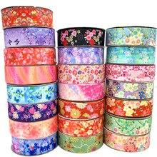 5 jardas/lote 25mm 38mm grosgrain fita impressão flores fita para decoração de casamento natal diy costura tecido