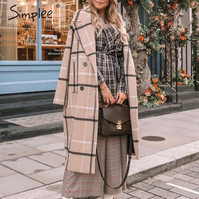 Simplee Elegant plaid women tweed coat Buttons pockets autumn winter female blend coats V neck office ladies warm long overcoats 2
