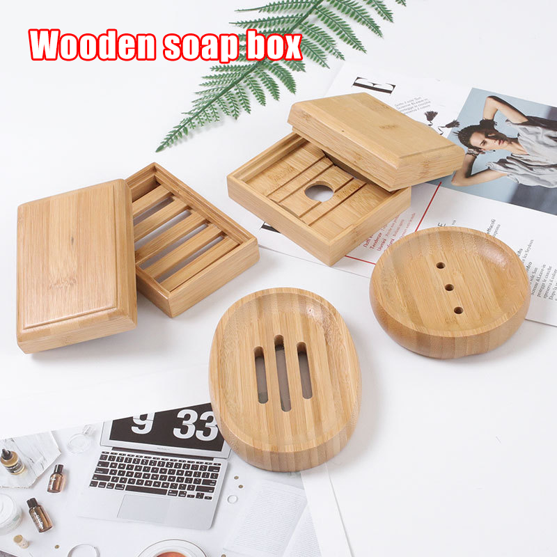 10pcs Natural Bamboo Wood Soap Dish Storage Holder Bath Shower Plates Bathroom