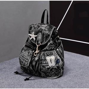 Image 2 - iPinee Hot Sale mochila feminina Womens Backpack denim backpack teenage Girls vintage Travel bag shoulder bags mochila feminina
