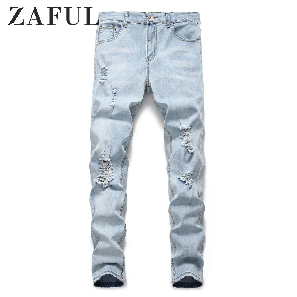 ZAFUL Light Wash Distressed Design Jeans New Men'S Hole Pleated Decorative Jeans Mid Waist Zipper Fly Long Pants Jeans Blue 2019