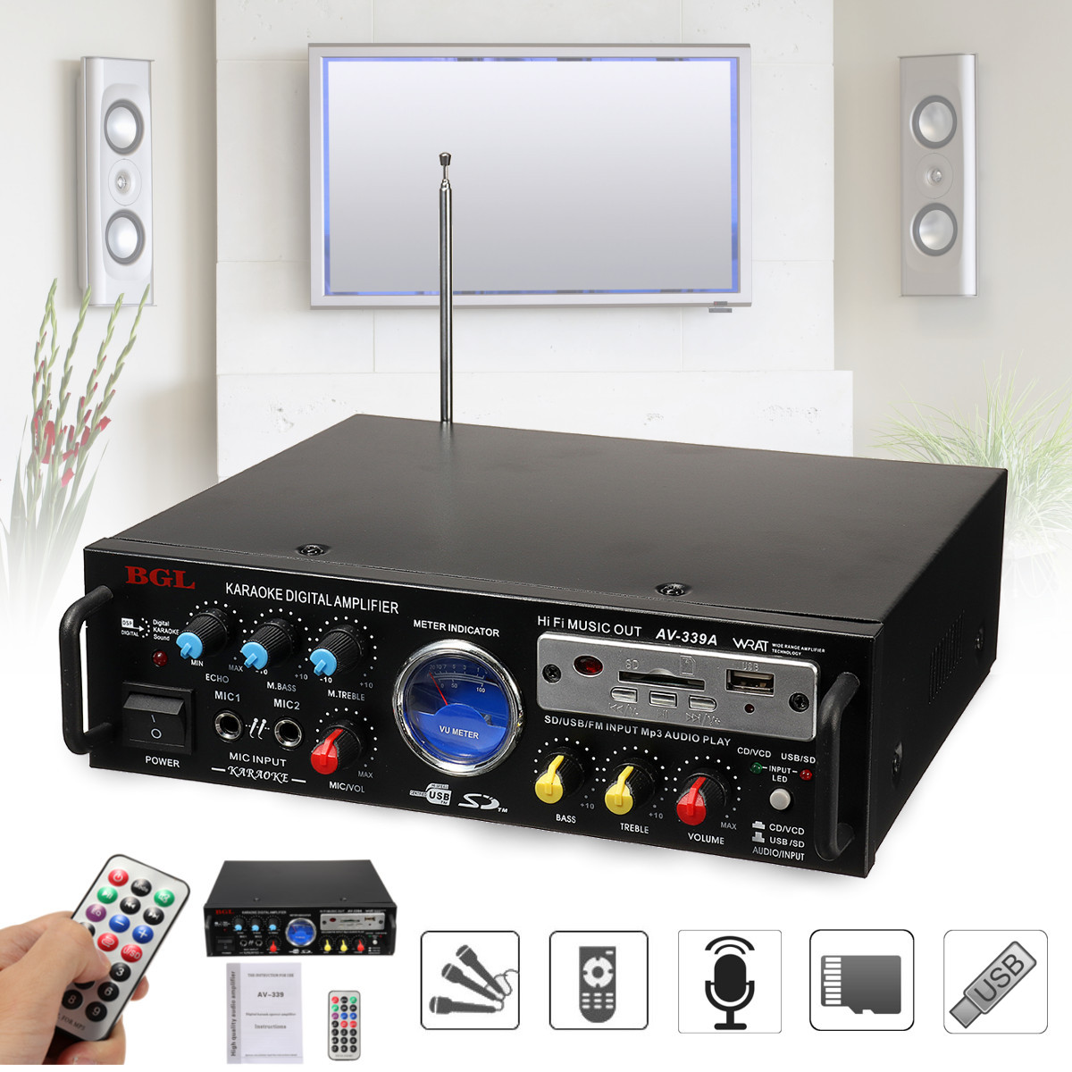 Stereo Amplifier 12v 220v 5.1 Channel Audio Power HiFi APE Dual Microphone Interface Speaker With Remote Control For Car Home