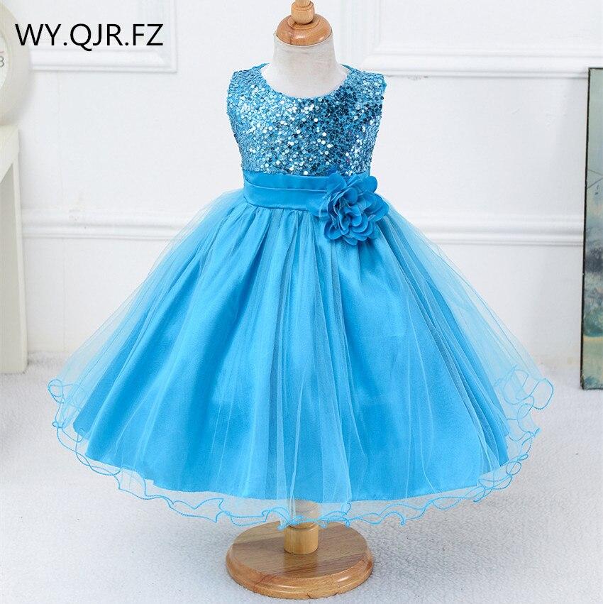 BH-L067#White And Dark Blue Etc.10 Colors Little Bridesmaid Costume Sequins Gauze Girls' Dresses Children's Wear Short Wholesale