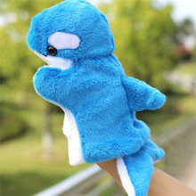 New Dolphin Plush Hand Puppet For Children Kindergarten Parent-child Interactive Game Props Baby Kid Early Education Toys Gifts(China)