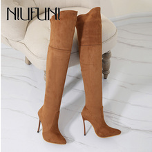 NIUFUNI 2019 Lady Sexy Over The Knee Boots Thin High Heels Autumn Pointed Suede