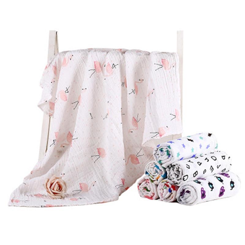 Newborn Muslin 100% Cotton Baby Swaddles Soft Blankets Bath Gauze Infant Wrap Sleepsack Stroller Cover Play Mat Big Diaper
