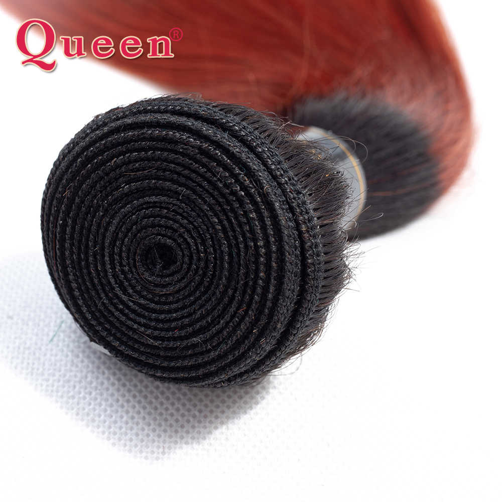 Ombre Bundles With Closure QUEEN Professional Colored 1B/ 350 Golden Blonde Brazilian Straight Human Hair 3 Bundles With Closure