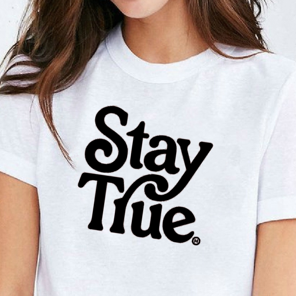 VIP HJN Stay True Be Your Personal Best Inspirational Slogan T-shirts Unisex Women T-shirt Harajuku Hipster Tee image