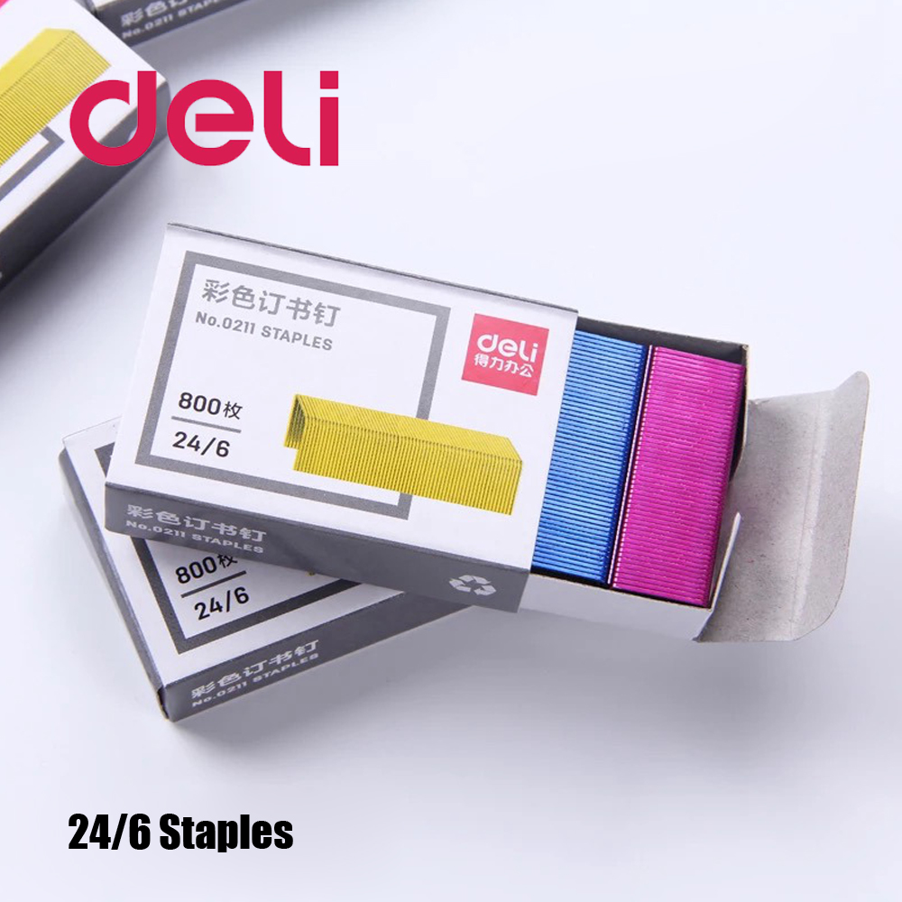 Deli 800pcs/pack Color Staples 24/6 12mm Stapler Stitching Needle Nail Staple 12# Stapler Universal Book Staples Office Supplies