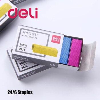 Deli 800pcs/pack Color Staples 24/6 12mm Stapler Stitching Needle Nail Staple 12# Stapler Universal Book Staples Office Supplies