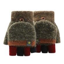 Новинка, детские вязаные перчатки, зимние, антифриз, для письма, теплые, полпальца, перчатки для письма, для велоспорта, зимние перчатки, варежки
