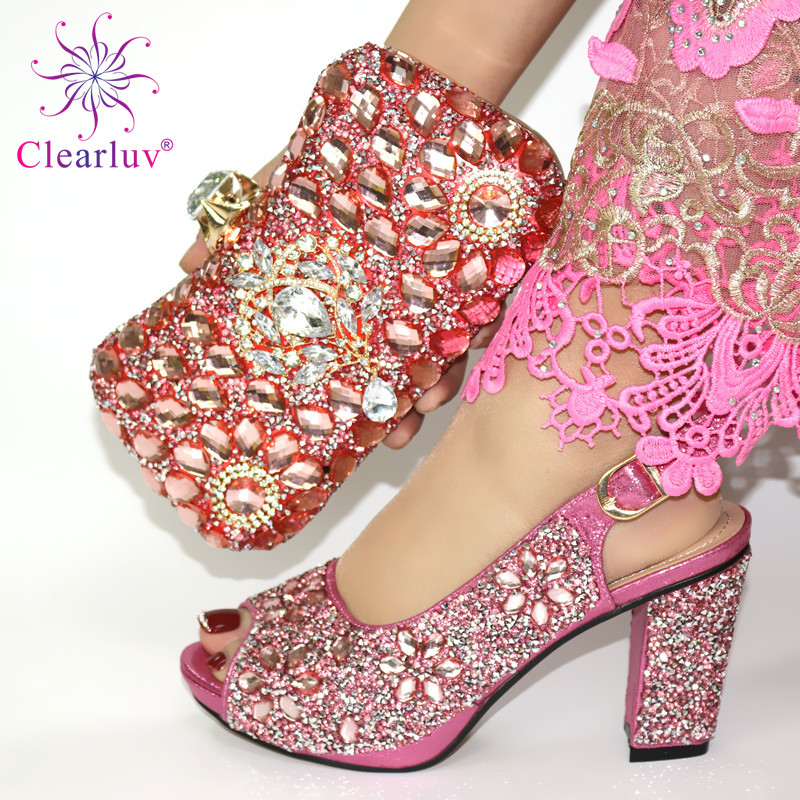 Pink Color Italian Ladies Shoe and Bag Set Decorated with Rhinestone Nigerian Shoe and Bag Set for Party In Women Italy Shoes