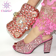 Ladies Shoe Rhinestone Italian Decorated Pink-Color Women And with Nigerian Bag-Set