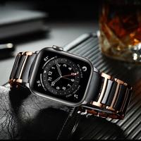 Para apple watch banda de 6 44mm 40mm se Correa serie 5 4 de lujo cerámica Acero inoxidable pulsera para iwatch 3 42mm 38mm