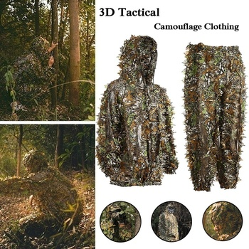 3D Tactical Camouflage Clothing Ghillie Suit Camouflage Clothing Bionic Camouflage Hunting Clothes for Jungle Hunting,Shooting breathable jungle bionic camo clothes wild hunting suits for hunter oem factory