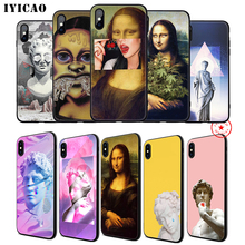 IYICAO Art Mona Lisa David Soft Phone Case for iPhone 11 Pro XR X XS Max 6 6S 7 8 Plus 5 5S SE Silicone TPU