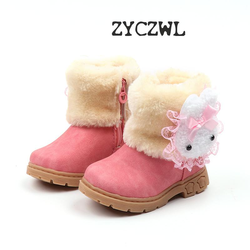2019 Baby Girls Boots Warm Cute Rabbit Toddler Kids Girls Boots Girls Shoes Winter Children Boots Size 21-30 Bota Infantil
