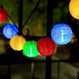 Image 5 - Solar Waterproof Nylon Round Chinese Paper Lanterns Birthday Wedding Decor Gift Craft DIY Lampion Hanging Ball Party Supplies